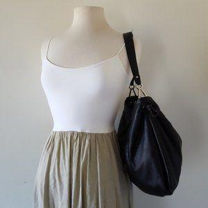 FURLA Black Leather Top Scrunch Bag